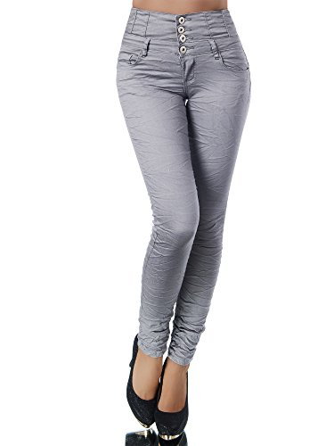 N867 Damen Jeans Hose Corsage Damenjeans High Waist Röhrenjeans Hochbund, Größen:36 (S), Farben:Steingrau