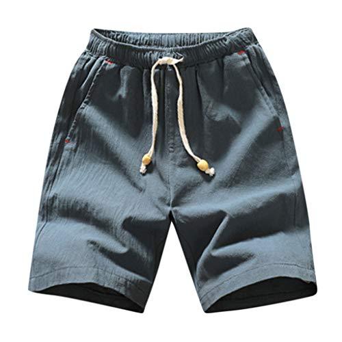 GreatestPAK Pants Herren Shorts Mode Sommer Lässig Einfarbig Tasche Tunnelzug Baumwolle Leinen Kurze Hosen,Grün,XXXL Playboy Shorts