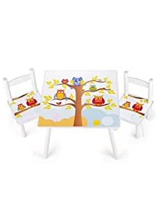 table et 2 chaises enfant motif de hiboux chambre enfant meuble enfant mobilier chaise d 39 enfant. Black Bedroom Furniture Sets. Home Design Ideas