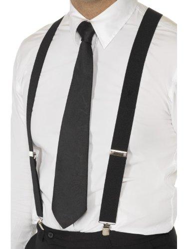 Schwarze elastische Hosenträger mit Metallclips, One Size