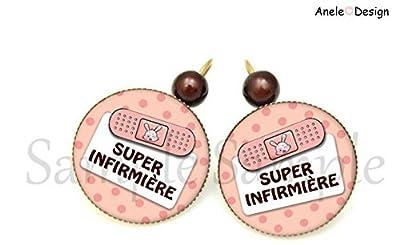 Boucles d'oreille hôpital Super Infirmière cabochon verre rose marron blanc pois pansement perles seringue médecin