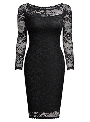 MIUSOL Damen Spitzenkleid Elegant Cocktail U-Ausschnitt Langarm Mini Party Abendkleid Schwarz M - 5