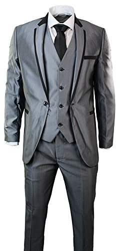 Herren Shiny Grau 3 Stück Anzug Schwarz Trim Einbau Hochzeit Prom 1 Button (Schwarz Stück Anzug 3)