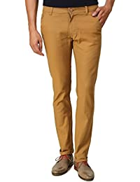 Men In Class Light Brown Chinos Pants For Men Stretchable Slim Fit