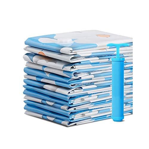Sac de compression sous vide Sac de rangement Grande couette extra large Sac de tri pour vêtements Vêtements Sac d'emballage Sac à fleurs bleu Pompe à main