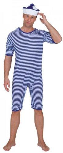 Badeanzug blau weiß geringelt Gr. XL Einteiler