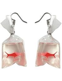 FiedFikt - Pendientes para mujer, diseño de bolsa de agua, rojo