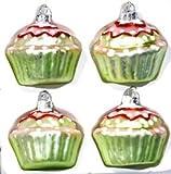 Baumschmuck Muffin Törtchen 4-teilig Glas in grün 6 cm