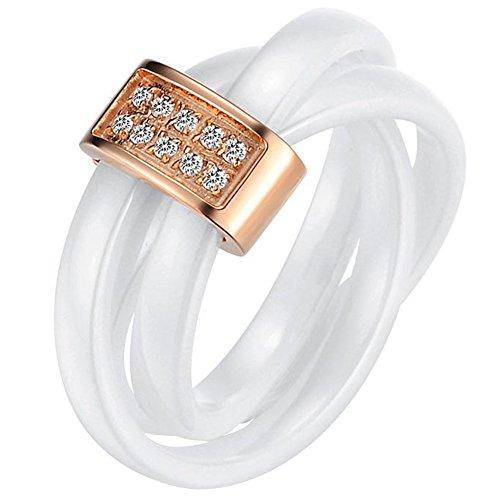 JewelryWe Schmuck 3mm Breite Weiss Keramik Damen-Ring mit Rose Gold Edelstahl Trizyklische Verlobungsring Hochzeit Band Größe 54