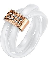 JewelryWe Schmuck 3mm Breite Weiss Keramik Damen-Ring mit Rose Gold Edelstahl Trizyklische Verlobungsring Hochzeit Band Größe 52 bis 59