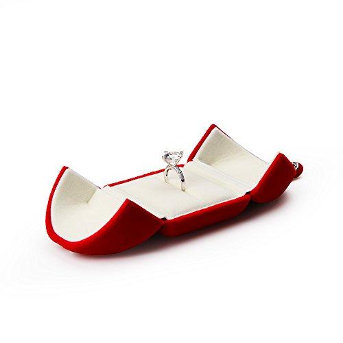 Oirlv - scatole da regalo per gioielli in velluto rosso ring box