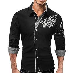Camisa Slim Plus Size de Trabajo para Hombres - Animal Dragon, Print Collar con Botones/Manga Larga, Black, M
