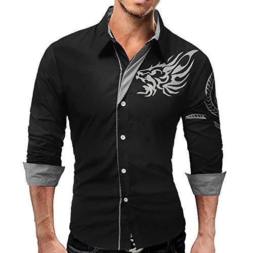 IYFBXl Camisa Slim Plus Size de Trabajo para Hombres - Animal Dragon, Print Collar con Botones/Manga Larga, Black, M