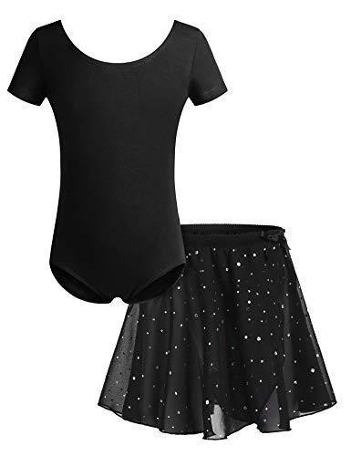 Bricnat Mädchen Ballettkleidung Ballettkleid Tanzbody Gymnastikanzug Balletttrikot Kurzarm Tanzkleid mit Tütü Kinder Baumwolle Schwarz 150