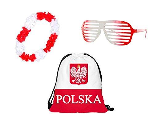 Alsino Polen Fanset, WM Fanartikel Polska - 3-teiliges Fanpaket, Turnbeutel, Hawaiikette und Shutter Shades Brille in polnischen Farben - perfekt für Public Viewing FP-26