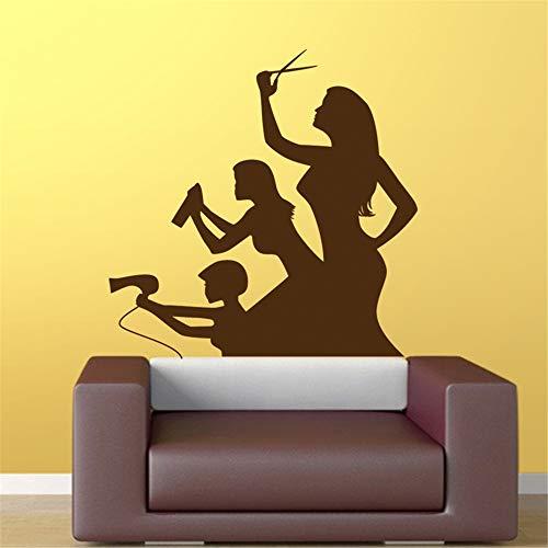 zlhcich Friseursalon Aufkleber Schönheit Schere Aufkleber Haarschnitt Name Poster VinylWandkunstAufkleber Dekor Dekoration Wandbild Salon Aufkleber80 * 80 cm