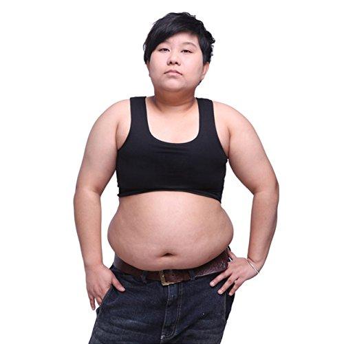 BaronHong Tomboy Trans Lesbische Baumwolle Brust Binder Plus Size Short Tank Top (Schwarz, L)