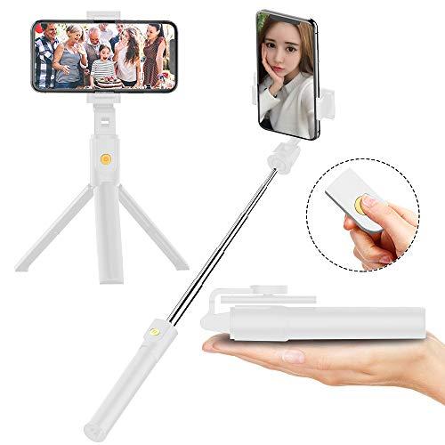 FAPPEN Bastone Selfie Treppiede, 3 in 1 Selfie Stick Bluetooth Estensibile Rotazione a 360 ° con Telecomando per iPhone XS/X / 8 / Samsung S9 / S8 / Huawei P20 / P10 e Altri Android e iOS (White-B)