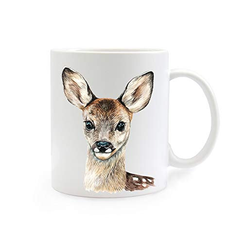 ilka parey wandtattoo-welt Tasse Emaille Becher oder Thermobecher Kaffeebecher mit REH Rehkitz Kaffeebecher REH-Motiv Geschenk pb08 - ausgewähltes Produkt: *Kaffeetasse