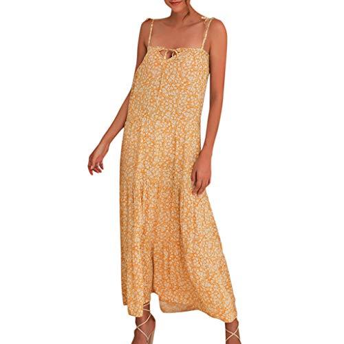 Junjie Frauen Sommer Boho Floral Paisley Maxi Print Kleid Damen Holiday Beach Dress Abendkleider schulterfrei Oberteil Maxi Tops t-Shirt Swing Blumen Orange, gelb Rote Paisley Bow