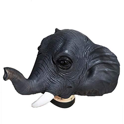 WYJSS Máscara de Cabeza de Elefante Látex Máscara Animal Fiesta de Disfraces de Halloween Cosplay Novedad Vestido Encantador Regalos Divertidos Vestir Accesorios,Clear-OneSize