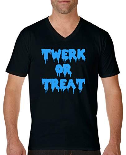 Comedy Shirts - Twerk or Treat - Halloween - Herren V-Neck T-Shirt - Schwarz/Blau Gr. XXL
