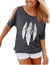 YIPIN Mujer Casual Camiseta Manga Corta Sin Tirantes Verano Estampado de Plumas Suelto T-Shirt Tops
