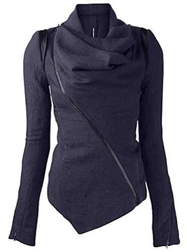 Minetom Femmes Automne Hiver Couleur UnieIrrégulier Heaps Collar Svelte Tranchée Manteau Parka Bleu FR 38