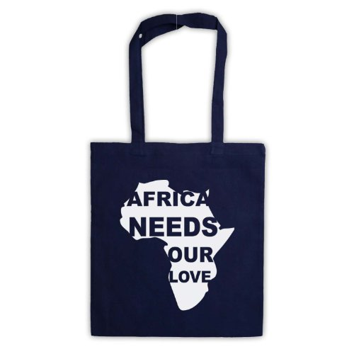 Africa esigenze Our Love Protest Slogan Tote Bag Blu navy
