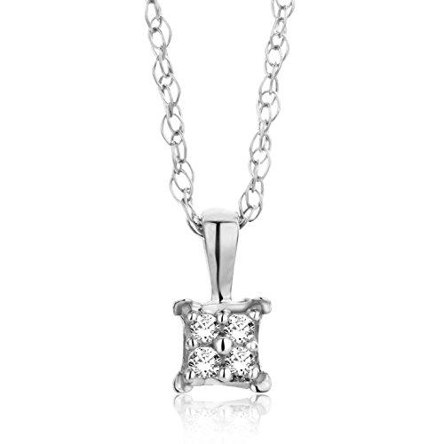Orovi Collana - Pendente - Ciondolo Donna con Catena in Oro Bianco con Diamanti Taglio Brillante Oro 18 kt /750 Catenina Cm 45