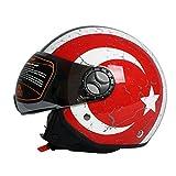 Casco da Moto Vintage Open Face · Retro Scooter Jet Pilota Moto Mezzo caschi · Moto Biker Cruiser caschi Touring · Rosso Italiano · Certificato ECE · Visiera,XL61~62cm