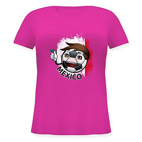 Fußball-Europameisterschaft 2020 - Fußballjunge Mexiko - L (48) - Fuchsia - JHK601 - Lockeres Damen-Shirt in großen Größen mit Rundhalsausschnitt -