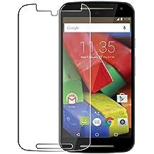 Protector de pantalla Cristal templado para Motorola Moto G 2º generacion (version 2014 / segunda generación)  Calidad HD, Grosor 0,3mm, Bordes redondeados 2,5D, alta resistencia a golpes 9H. No deja burbujas en la colocación (Incluye instrucciones y soporte en Español)