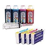Compatible avec Epson 16XL Ink, rechargeable Cartouches d'encre et 4x100ml travail d'encre avec WF-2630WF WF-2530WF WF-2760DWF WF-2510WF WF-2650DWF WF-2520NF WF-2660DWF WF-2750DWF WF-2540WF imprimante