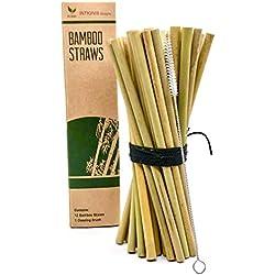 INTIGNIS - Pajitas de bambú reutilizables, biodegradables naturales veganos, añadir a la cocina, fuerte y duradero, seguro y divertido para los niños natural