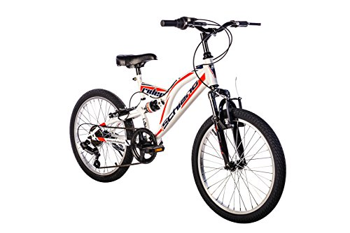 F.lli Schiano Rider Full Suspension Power Vélo Homme, Blanc/Rouge, Taille 26'
