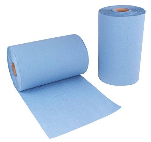 2 Stück Putzrollen blau | je 500 Blatt 3-lagig | 36x38 cm | randverleimt geprägt und nassfest |...