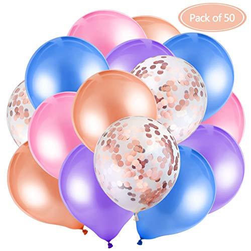 MELLIEX 50 Packungen Latex Luftballons mit Konfetti Luftballons für Hochzeit Birthday Party (Pfirsich, Rosa, Blau, Lila, Rosegold)