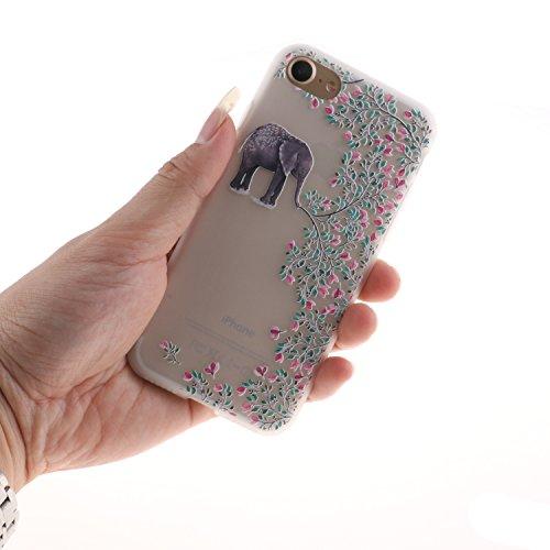 iphone 7 Hülle, iphone 7 Soft Case , Cozy Hut iphone 7 Backcover Silikon Schutzhülle im Weiß Datura Blumen Design Hülle aus TPU transparent Muster kratzfest - Crystal Clear Ultra Dünn Durchsichtige Ba Elefant