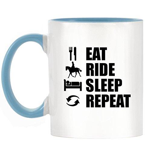 EAT Ride Sleep Repeat-Reiten Design bicolor Becher mit Henkel Hellblau & Innen -