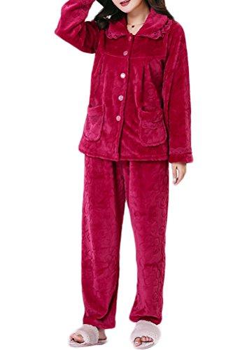 Nanxson(TM) Pyjama Femme En Polaire Épais Chaud Pour Automne Hiver SYW0053 (rouge vineux, M (taille d'étiquette: L))