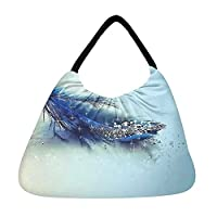 Snoogg Blue Feather And Glitter Beach Tote Shopper Bag Handbag Shoulder