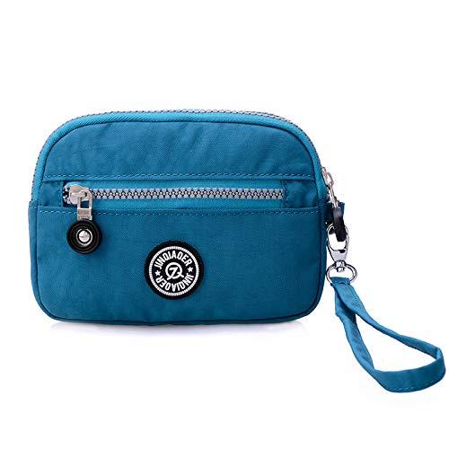 La versione coreana del panno di lavaggio tre cerniera piccola borsa di stoffa borsa del telefono cellulare impermeabile pochette borsa mare blu