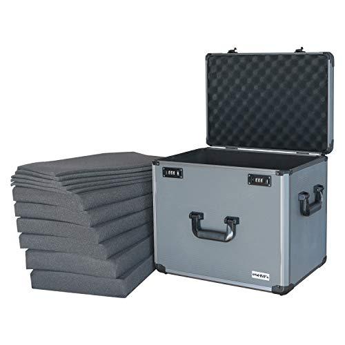 HMF 14422-02 Alu Fotokoffer, 6 x Rasterschaumstoff passend für Games Workshop, Miniaturenkoffer, 46 x 41 x 33 cm - Höhe Fuß-unterteil