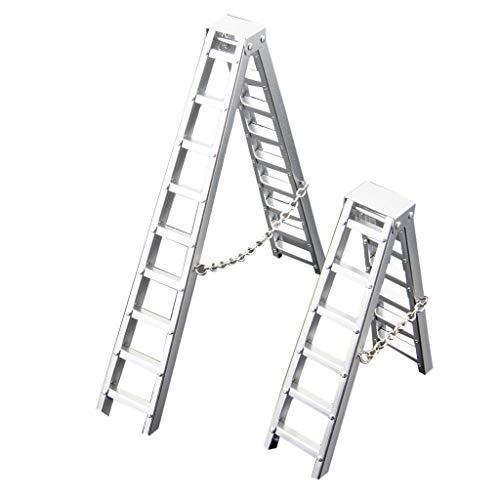 2X Simulation Ladder,Chshe TM,Mini Simulation Ladder per Scx10 90046 Cc01 D90 Trx-4 1:10 Rc 4Wd Rock Crawler, Auto Da 19 Pollici per L'Arrampicataaccessori per Tamburo Dell'Olio per Simulazione Auto
