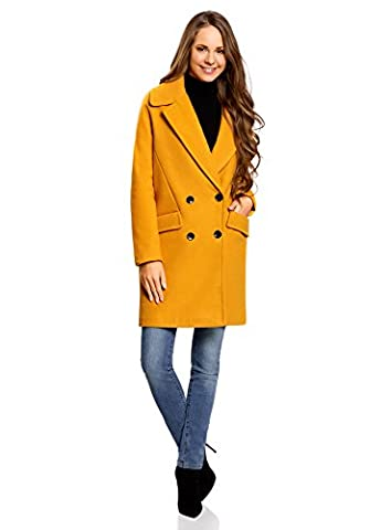 oodji Collection Women's Relaxed-Fit Double-Breasted Coat, Yellow, UK 12 / EU 42 / L