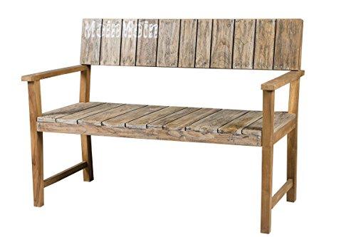 GARDENho.me 2-Sitzer Bank Gartenbank Moin Moin Holzbank ca. 120 cm rustikal Teakholz