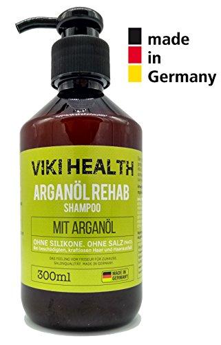 VIKI HEALTH Arganöl Shampoo - ohne Silikone, Salze und Parabene - bei trockenen, beschädigten Haar - für Haarwachstum und Volumen - mit wertvoller Hydroxycellulose, Deutsches Markenprodukt, silikonfrei