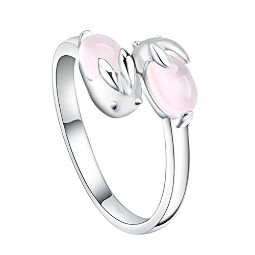 Doitsa Ring Silber Ringe Rosa Quarz Hase Fingerring Legierungs Schmuck Zubehör für Frauen und Mädche
