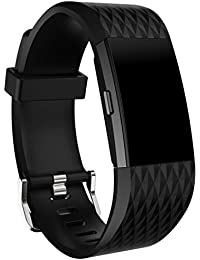 Malloom Deportes silicona correa para Fitbit Charge 2, L (Negro)